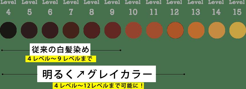 明るさの違いのレベルチャート